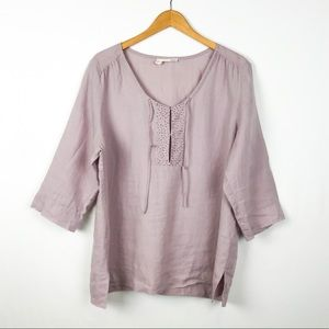 Eileen Fisher Purple Sequined Linen Blouse